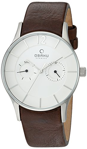 Obaku Men's Quartz Stainless Steel and Leather Dress Watch, Color:Brown (Model: V175GMCIRN)