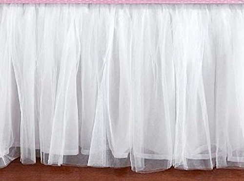 Tullu White Lined Ruffle MIni Crib Skirt 16 Inch Drop 3 Sided by DecorWithShams