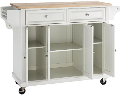 Crosley Furniture Rolling Kitchen Island with Natural Wood Top - White
