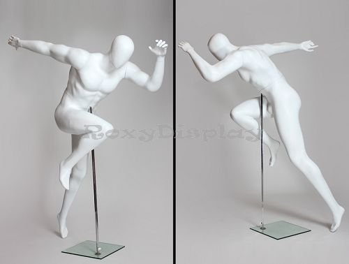Egghead male mannequin with well built body runner style MZ-PB3 running Sprint pose