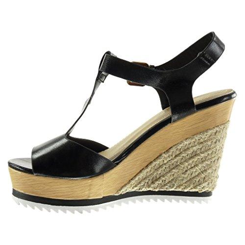 compensé 11 Noir Corde Peep Mode Plateforme Plateforme Femme CM Angkorly Brillant Espadrille Toe Bois Talon Chaussure Salomés Sandale AZTzBO