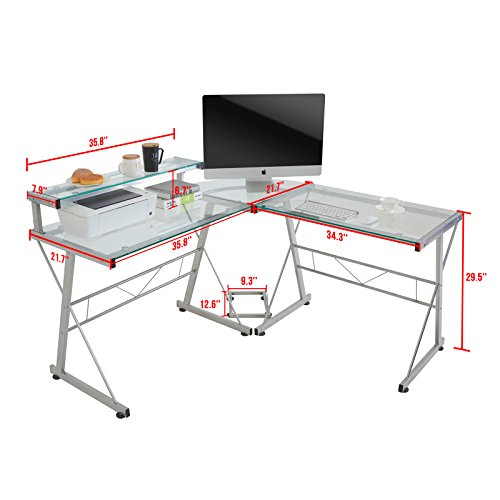 Mecor L-Shaped Corner Computer Desk with Shelf & Stand, Glass Laptop PC/Computer Table Workstation Home Office Furniture, Glass & Metal, Clear by Mecor (Image #5)