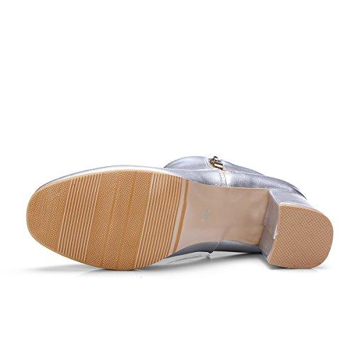 Heels Damen Silber Stiefeletten Heels Glitzer YE Elegant mit Reißverschluss Blockabsatz Schuhe Boots Ankle Chunky High 0dRRqI6