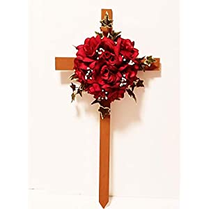 Cemetery Silk Flowers, Memorial Cross, Red Roses 7