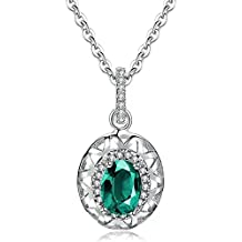 AILUOR Sterling Silver Genuine, Created Russian Simulated Emerald Oval Solitaire Pendant Necklace Jewelry for Women18