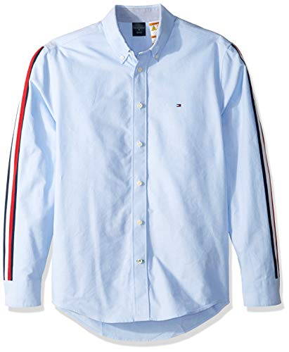 Tommy Hilfiger Men's Adaptive Magnetic Long Sleeve Button Down Shirt Custom Fit, Sky Blue, - Down Button Shirt Hilfiger Tommy