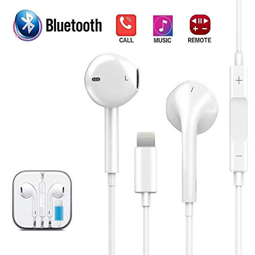 ECZO Bluetooth Headset Earbuds & Earphones & Headphones with Stereo Sound + Built-in Microphone + Volume Control Compatible with iPhone X, 7, 7 Plus, iPhone 8, 8 Plus
