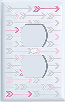Double Toggle Pink, and Grey Arrow Print Light Switch Plate and Outlet Covers/Arrows Woodland Forest Nursery Wall Decor for Baby Girls (Double Toggle) Presto Chango Decor Inc.