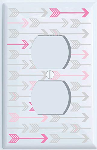 Pink, and Grey Arrow Print Outlet Covers/Arrows Woodland Forest Nursery Wall Decor for Baby Girls (Outlet Cover)