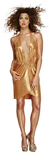 Fever Smiffy's Women's 70's Disco Diva Costume, Dress, Mesh Panel and Headband, Retro, Size 6-8, 43476