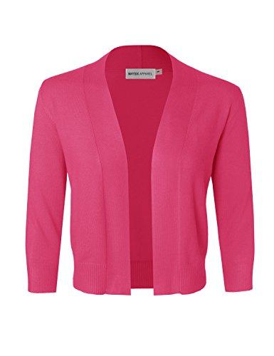 Pink Bolero (MAYSIX APPAREL 3/4 Sleeve Solid Open Bolero Cropped Cardigan For Women CORAL3 S)