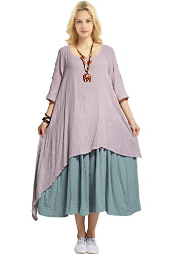(Anysize Fake Two Piece Linen Cotton Dress Spring Summer Plus Size Dress Y111 Khaki)