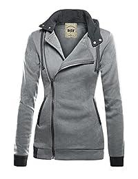 DJT Womens Oblique Zipper Slim Fit Hoodie Jacket