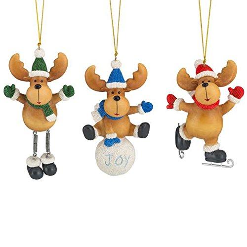 Lenox Winter Antics Moose Ornament Set of 3 Ice Skating Christmas Hat - Lenox Skating
