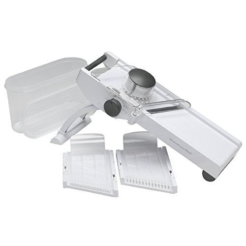 KitchenAid Stainless Steel Mandoline Food Peeler Cutter Slicer with Retractable Blade Cover- White