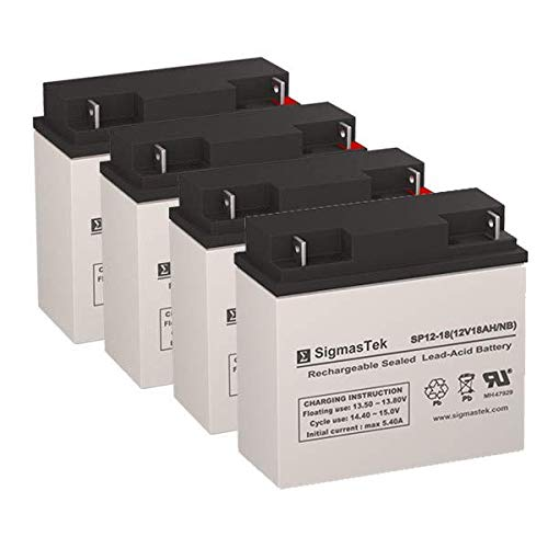 TaoTao ATE-501 Replacement Batteries - 4X 12 Volt 18AH Scooter Batteries by SigmasTek by SigmasTek