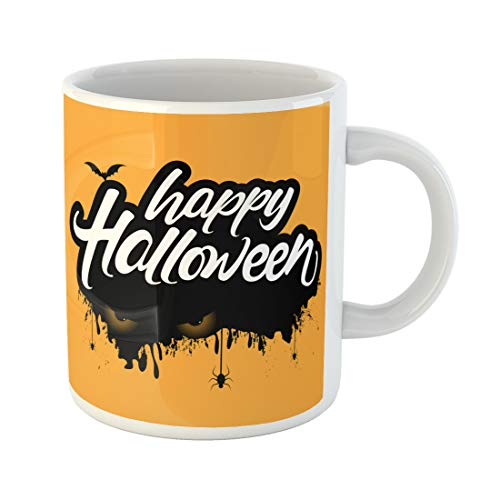 Semtomn Funny Coffee Mug Creative Hand Lettering Text of Happy Halloween Eyes Bats 11 Oz Ceramic Coffee Mugs Tea Cup Best Gift Or Souvenir -
