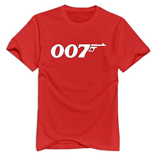 Red VAVD Mens James Bond 007 O-Neck T-Shirt Size M