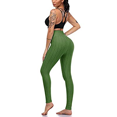 Women's Scrunch Butt Lifting Leggings, High Waist Yoga Pants Stretchy Tummy Control Workout Ruched Butt Lift Tights at Women's Clothing store