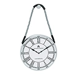 Benzara Woodland Imports Metal Hanging Wall Clock with Attached Rope Fitted with Leather Straps, Small