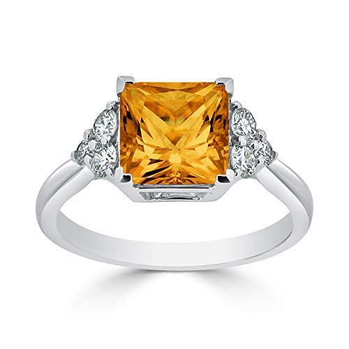 Ring Tdw Diamond Citrine - Diamond Wish 14k White Gold Diamond Engagement Ring with 3 ct Princess-Cut Citrine Gemstone and 1/3 ct TDW, Size 6.5