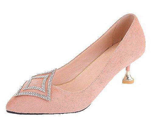 AgooLar Femme Pointu à Talon Correct Tire Couleur Unie Chaussures Légeres Rose tddu4SqEm