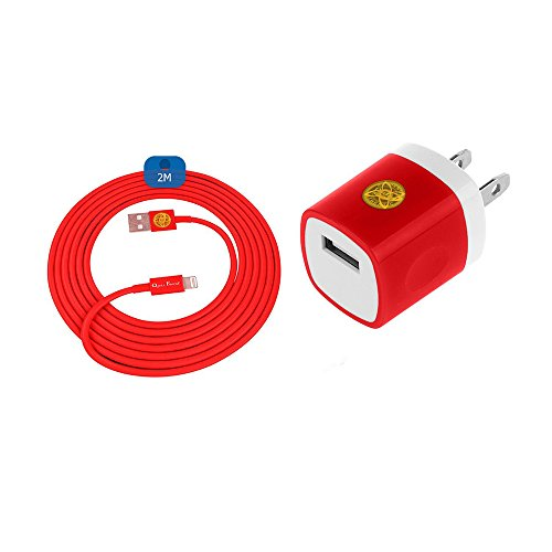 6Ft Lightning Heavy Duty Braided Data Sync Charging Cable + Hi-Performance Wall Adapter Bundle for iPhone 7, 7Plus (Red)