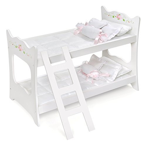 Badger Basket White Rose Doll Bunk Bed (fits American Girl - American Bunk Girl Beds Doll