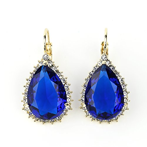 Stunning Pear Shaped Faux Sapphire Earrings with Dazzling Swarovski Style Crystals from United Elegance