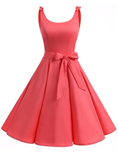 Bbonlinedress 1950's Bowknot Vintage Retro Polka Dot Rockabilly Swing Dress Coral 3XL