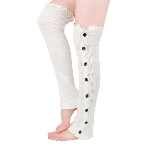 Tirain Women Knitted Flat Button Down Crochet Leg Warmers with Lace Trim FBA(White) (Leg Warmers With Button Side)