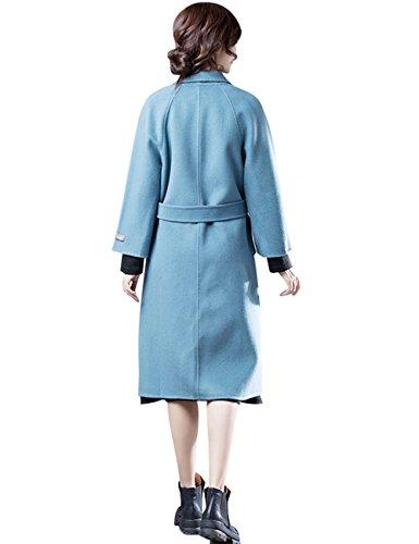 Mujeres cachemira Otoño de cara Doble Abrigos Estilo Abrigos Invierno Azul Youlee 4 largos qCwd0q