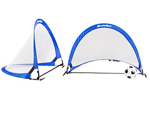 Wealers 4 Feet Pop Up Goals Soccer Training For kids   Portable And Lightweight   Foldable for Easy Carry   A Bag And 2 Net Goals Included (Blue) (Football Goals For Kids)