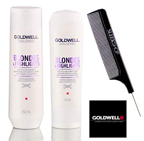 Goldwell Dualsenses Blondes And Highlights Anti-Yellow Shampoo & Conditioner Duo Set (STYLIST KIT) (8.4 oz / 6.7 oz DUO KIT)