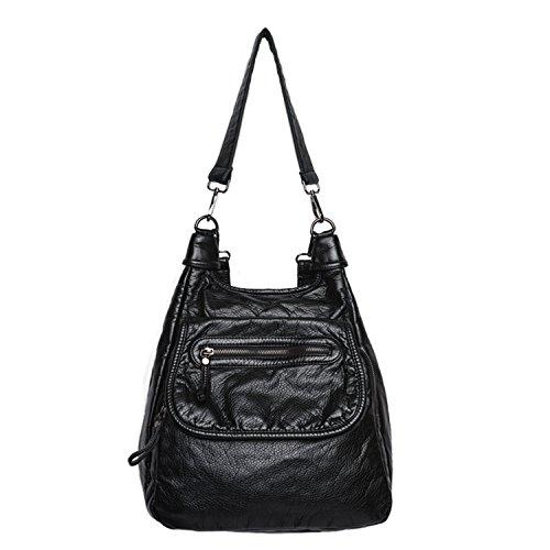 Backpack Bandoulière Dos École Pour Foino Main À Femme Sac Voyage Fille Loisir En Cuir Noir Mode De Sacoche Exfvqaf0w