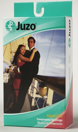 Dot Loungewear - Juzo Hostess Thigh High With Silicone Dot Band Short Closed Toe 20-30mmHg, I, Black