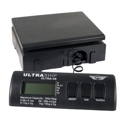 My Weigh Ultraship 35 LB Electronic Digital Shipping Scale Black with Ultraship Power Supply, Single by My Weigh