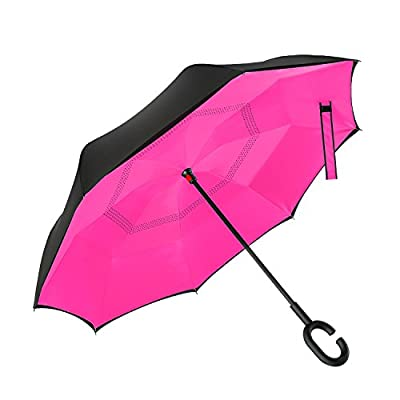 Ylovetoys Inverted Umbrella Double Layer Windproof Reverse Umbrella for Car and Outdoor Use ¡