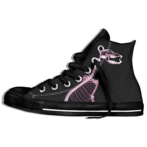 Baskets Montantes Classiques Chaussures De Toile Chiens Anti-dérapants Squelettes Casual Marchant Pour Hommes Femmes Noir