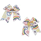 Unicorn Rainbow Hair Bows for Girls - Large Cheer Hair Bows Clip - Dreamy Design for Cheerleader for Babies, Girls - Pack of 2 (Rainbow Style)