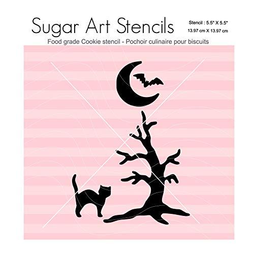 Fall Halloween cookie stencil Black cat bat tree Nb2045