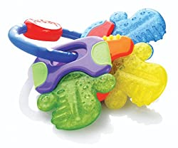 Nuby Ice Gel Teether Keys Nuby Ice Gel Teether Keys contains nontoxic purIce gel that lets it stay cool for a long time. Its cool textured surface soothes and stimulates sore gums. The teething nubs can help massage tender gums. The bright colorful s...