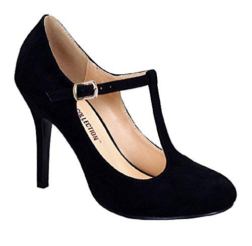 [Blsm Swissx2 Women's Closed Toe T-Strap Platform Pumps Faux Suede Medium High Heels Black 7.5] (Journee Collection)