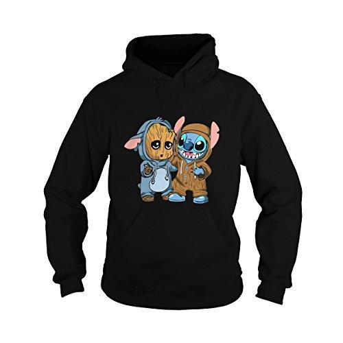 Sleeky Unisex Stitch and Groot Hoodie (2XL, Black) -