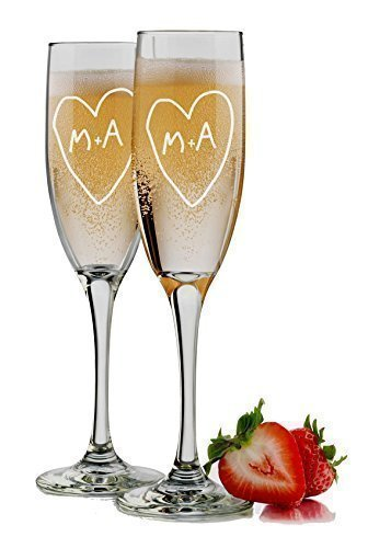 Tree Carving - Bride and Groom Champagne Flutes - Set of 2 Glasses - 6 oz Personalized Custom Engraved Mr and Mrs Monogram Toasting Wedding Gift ()
