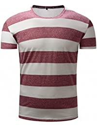 new spring and summer men's short-sleeved T-shirt Fashion and American round neck stripes shirt 710