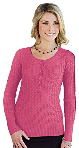 Cable Knit Henley Sweater (Tri-mountain Womens 100% Cotton Long Sleeves Henley Cable Sweater. LB922 - FUCHSIA_L)