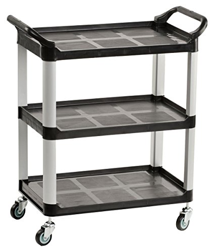 - Displays2go Heavy Duty Bus Cart with Open Shelving, Easy-Grip Side Handles and Swivel Wheels, Black