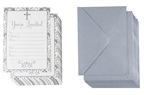 60-Pack Religious Invitations - Christian Invitation Cards, Silver Cross and Floral Pattern, Ideal for Funeral, Baptism, Christening, Church Events, V-Flap Envelopes Included, 5 x 7 inches ()
