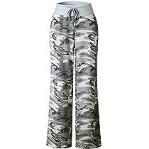 YAMTHR Womens Wide Leg Yoga Palazzo Pants Floral Printed Drawstring Trousers (Blue1,L)